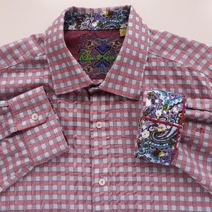 Robert Graham Plaid Pink White Shirt Mens Size 3XL